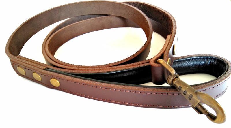 Кожаный поводок для собак 1.9 м * 23 мм с прошитой мягкой ручкой - Фото 2