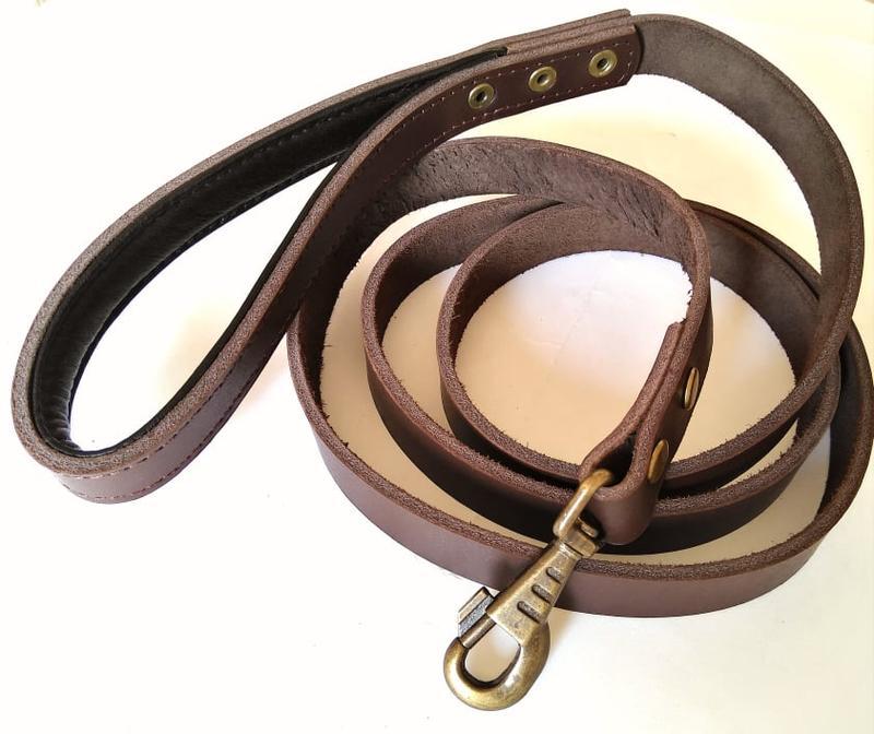 Кожаный поводок для собак 1.9 м * 23 мм с прошитой мягкой ручкой - Фото 4