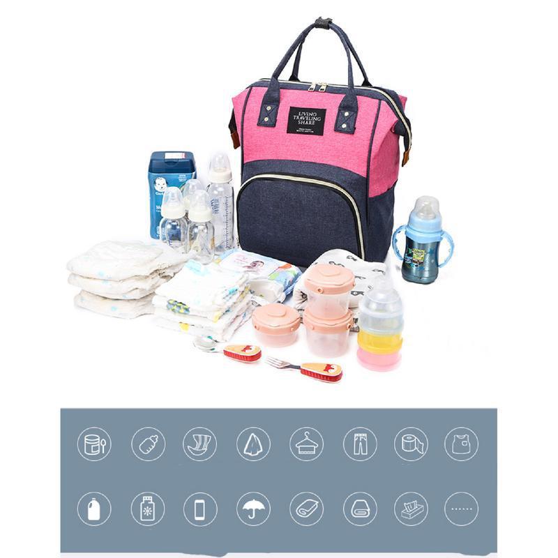 Сумка-рюкзак, мама-сумка. розово-синий. - Фото 4