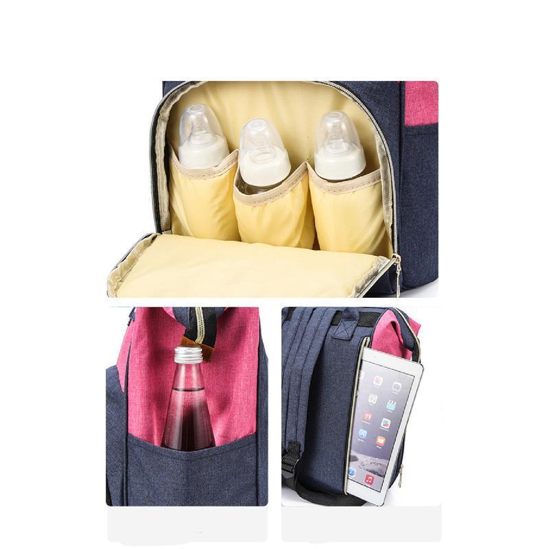 Сумка-рюкзак, мама-сумка. розово-синий. - Фото 5