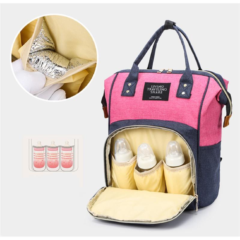 Сумка-рюкзак, мама-сумка. розово-синий. - Фото 8
