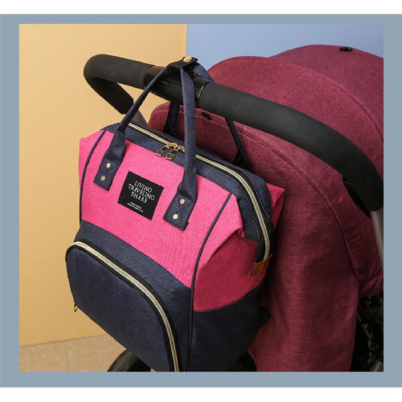 Сумка-рюкзак, мама-сумка. розово-синий. - Фото 9