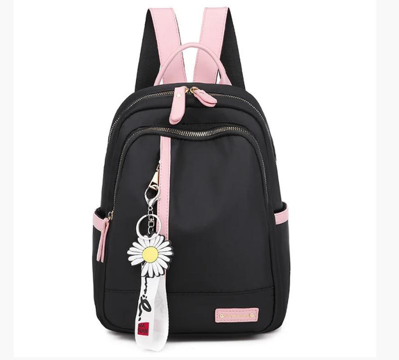 Рюкзак женский черный из нейлоновой ткани (без брелка ромашка)