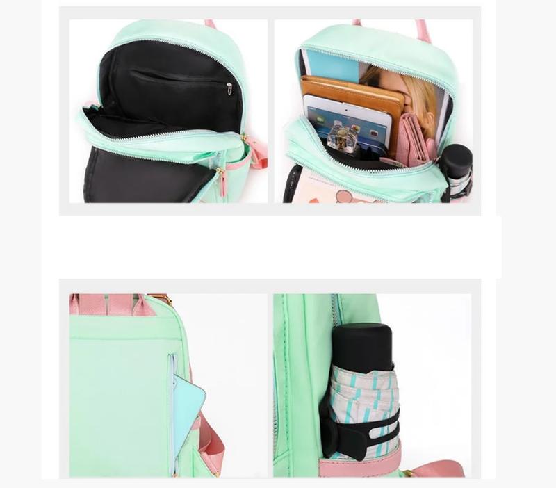 Рюкзак женский черный из нейлоновой ткани (без брелка ромашка) - Фото 3