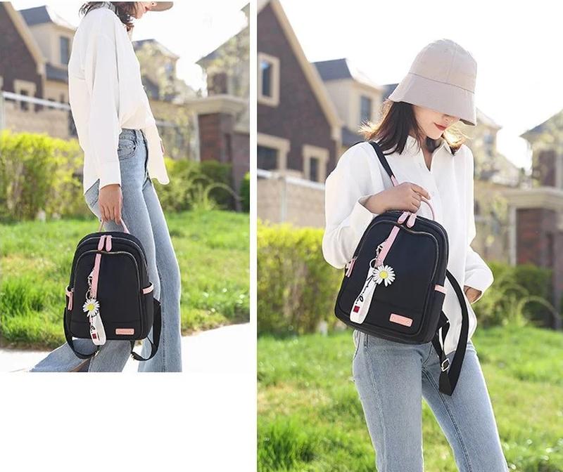Рюкзак женский черный из нейлоновой ткани (без брелка ромашка) - Фото 5