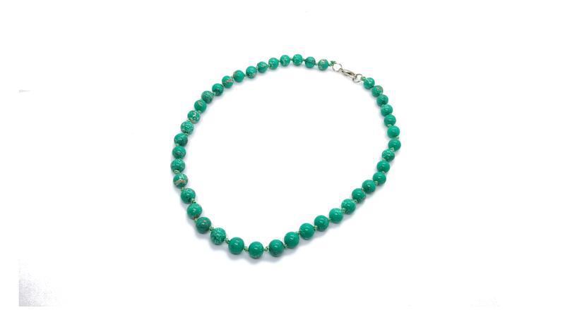 ???????? яркие стильные бусы натуральный камень зеленый варисцит шар...