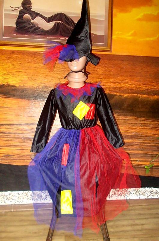 Маскарадное платье+шляпка для волшебницы ростом 122см