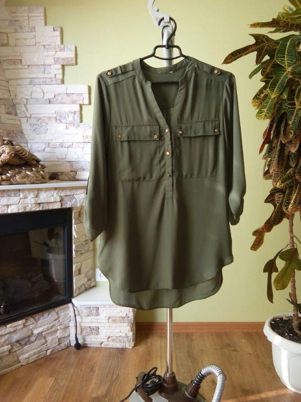 Неймовірно стильна блуза-рубашка оливкового кольору