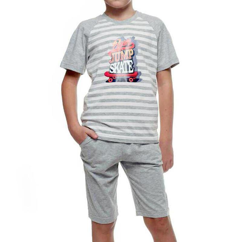 Детский хлопковый комплект с коротким рукавом на мальчика серо...