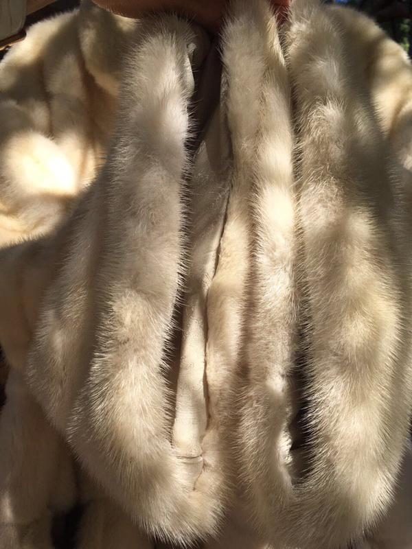 Норковая шуба белая монто - Фото 5