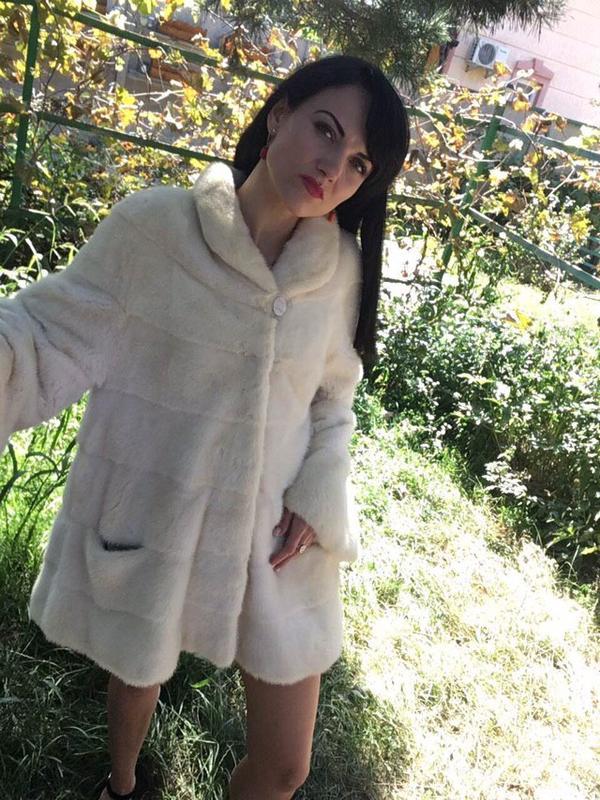 Норковая шуба белая монто - Фото 11