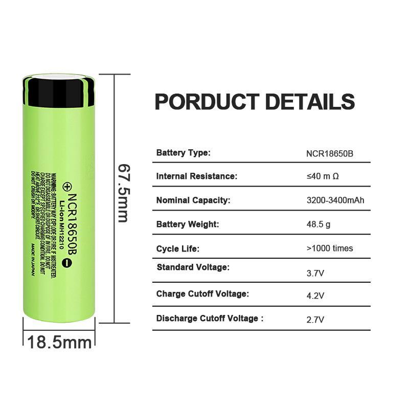 Аккумуляторная батарея 3 шт. Panasonic NCR18650B 3.7В 3400 mAh - Фото 4