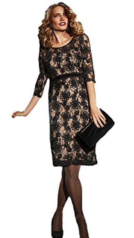 Роскошное черное платье миди с кружевными цветочными аппликациями - Фото 3