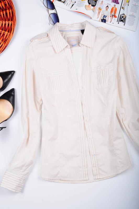 Рубашка в полоску с длинным рукавом mango - Фото 2