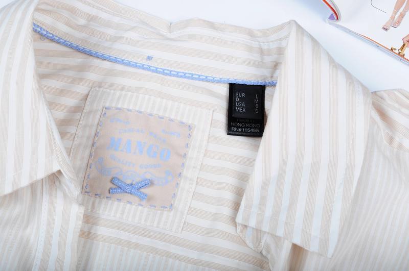 Рубашка в полоску с длинным рукавом mango - Фото 5