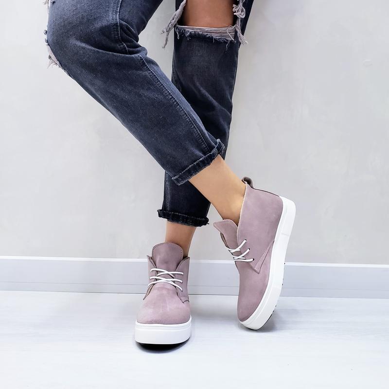 Хайтопы замшевые р32-41 пудровые ботинки полуботинки сапоги ха...