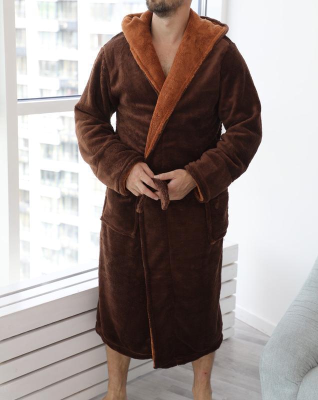 Мужской махровый халат с капюшоном. длинный тёплый махровый ха...