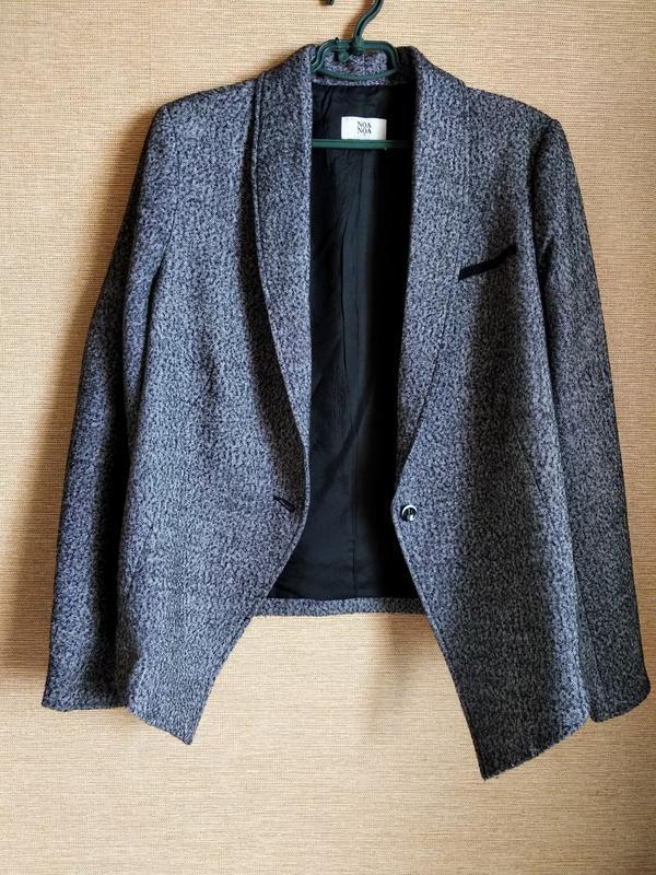Свободный шерстяной пиджак жакет блейзер в елочку noa noa - Фото 6