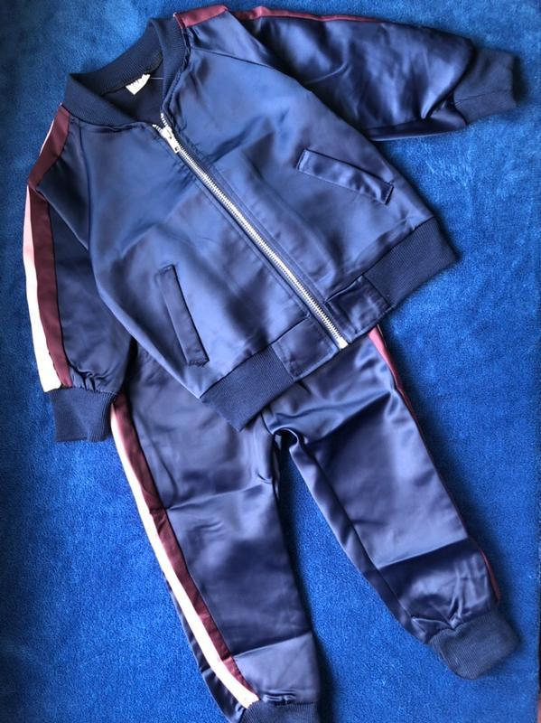 Бомбезный плотный шёлковый спортивный костюм комплект - Фото 2
