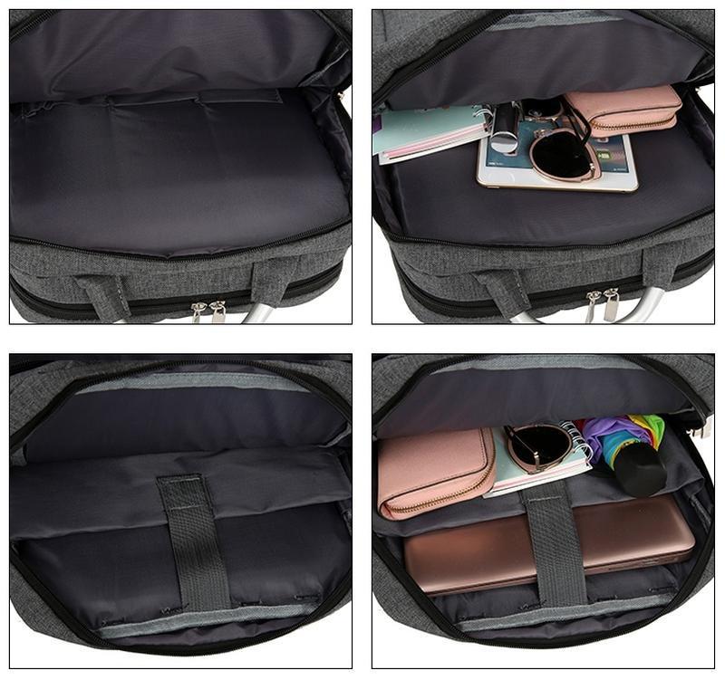 Городской рюкзак usb для ноутбука серый - Фото 10