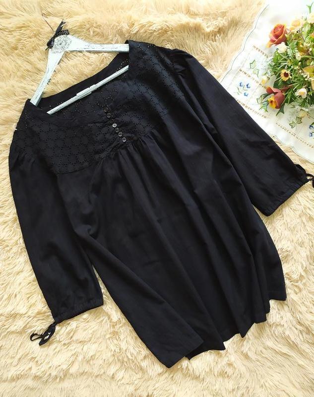 Хлопковая блуза рубашка туника с прошвой lindex батал