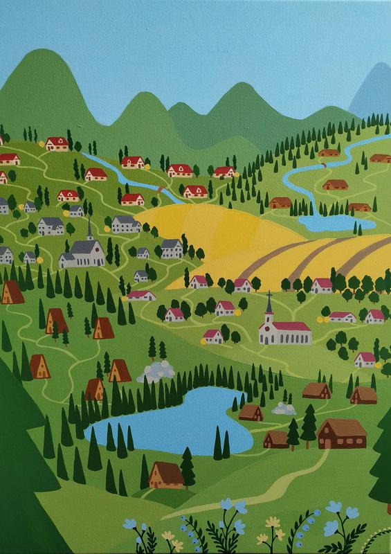 Картина акрил, 60х80 см, картина горы, лес, озеро