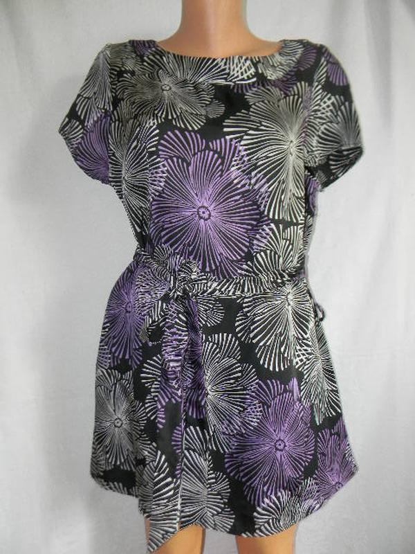 Натуральная блуза туника с принтом