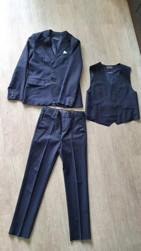 Темно синий школьный костюм тройка zara 7-8 лет