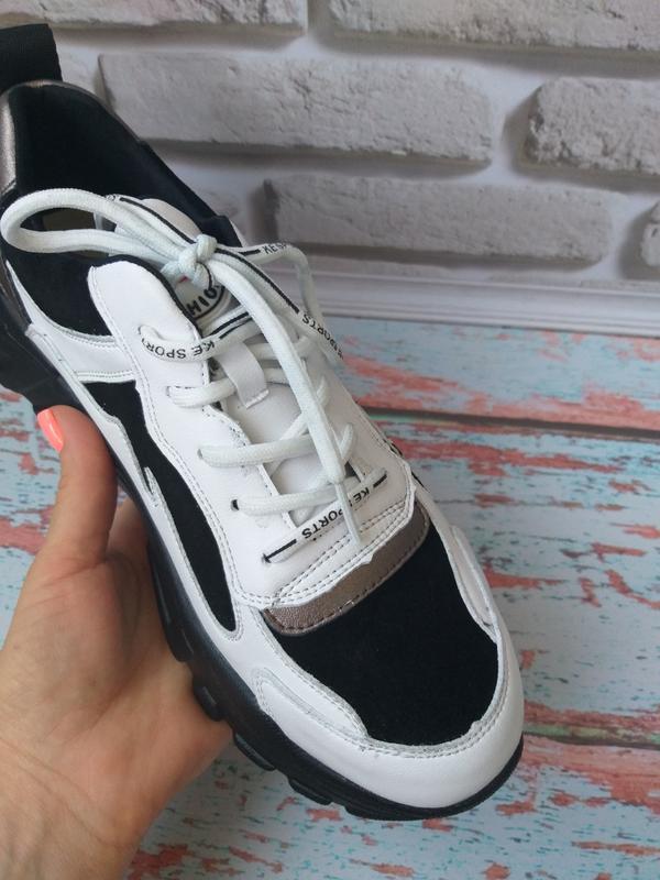 Кожаные кроссовки в стиле balenc!aga - Фото 3