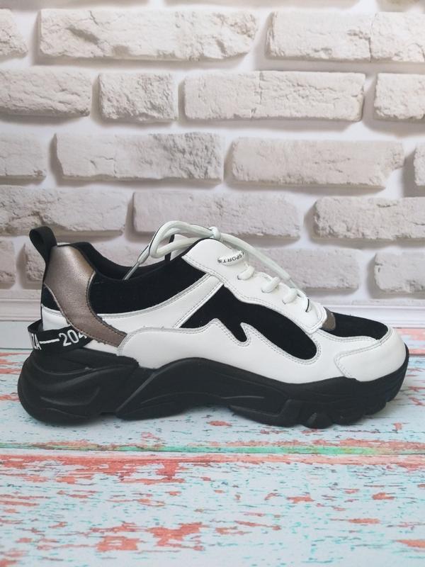Кожаные кроссовки в стиле balenc!aga - Фото 4