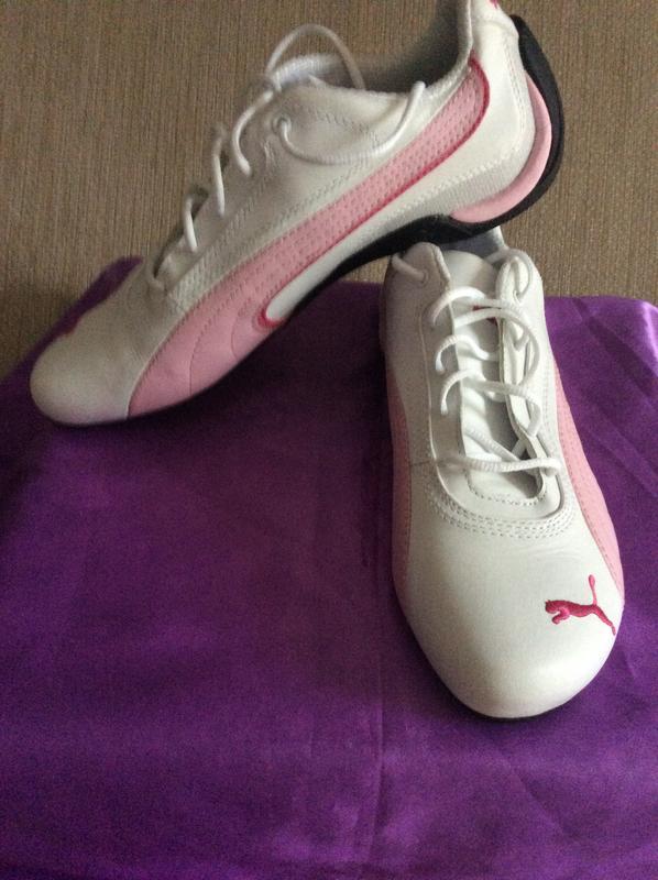Новые кожаные бело-розовые кроссовки Puma,р.37.5