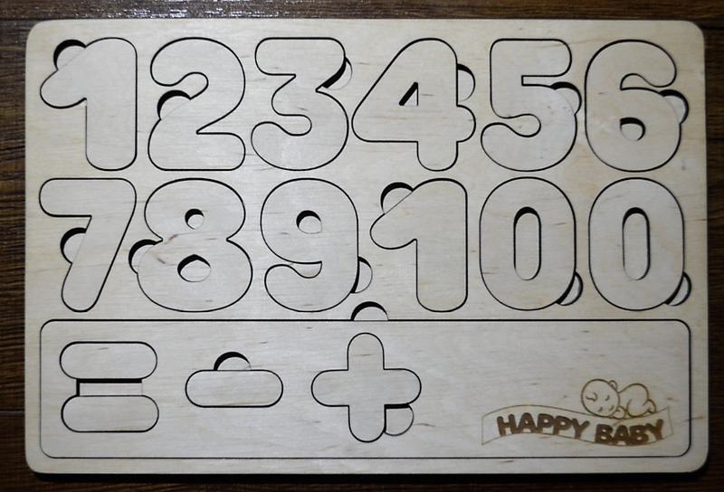 Дерев'яні розвиваючі пазли цифри, геометричні фігури, дівчинка.