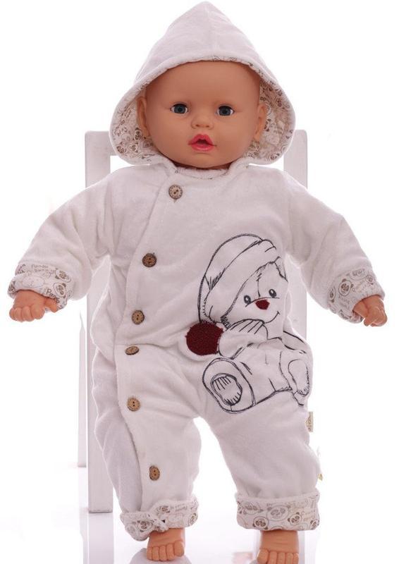 Зимний комбинезон для новорожденных С мишкой бежевый
