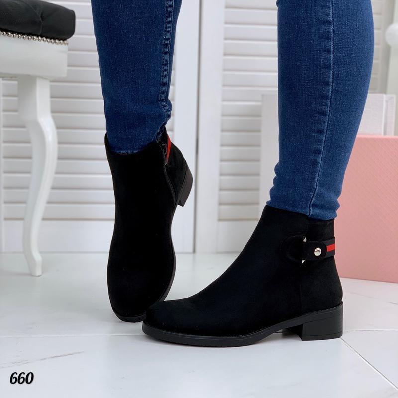Осень базовые замшевые ботинки на удобном каблуке качество люкс