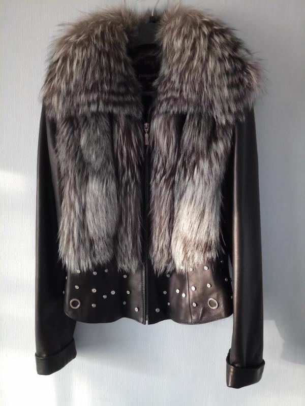 Фирменная куртка жилет натуральная кожа с мехом чернобурки