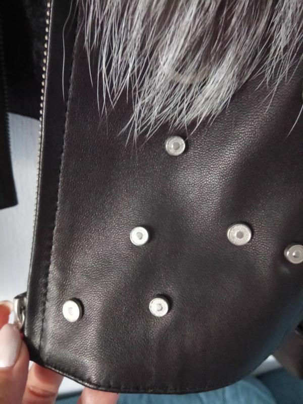 Фирменная куртка жилет натуральная кожа с мехом чернобурки - Фото 3
