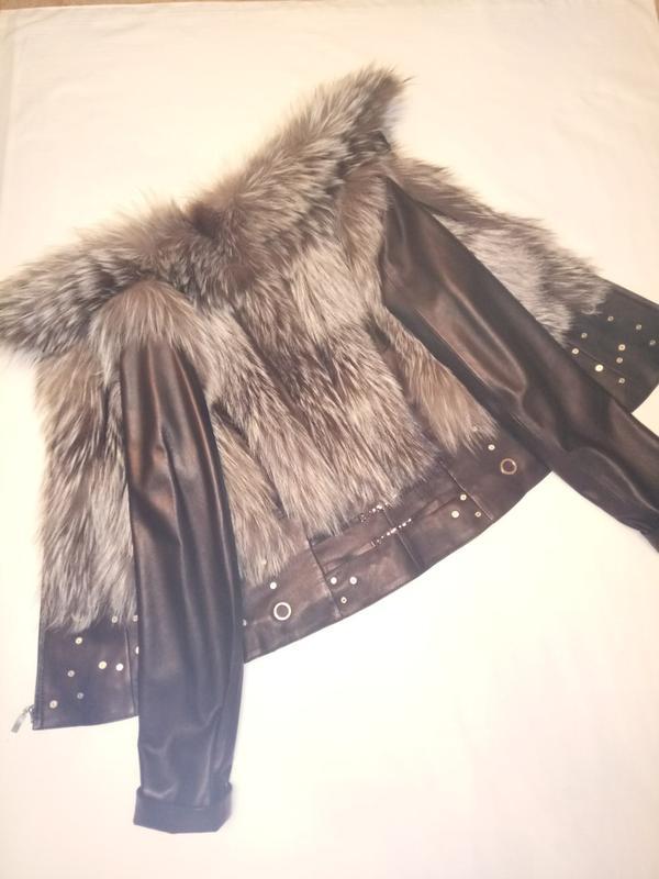 Фирменная куртка жилет натуральная кожа с мехом чернобурки - Фото 5