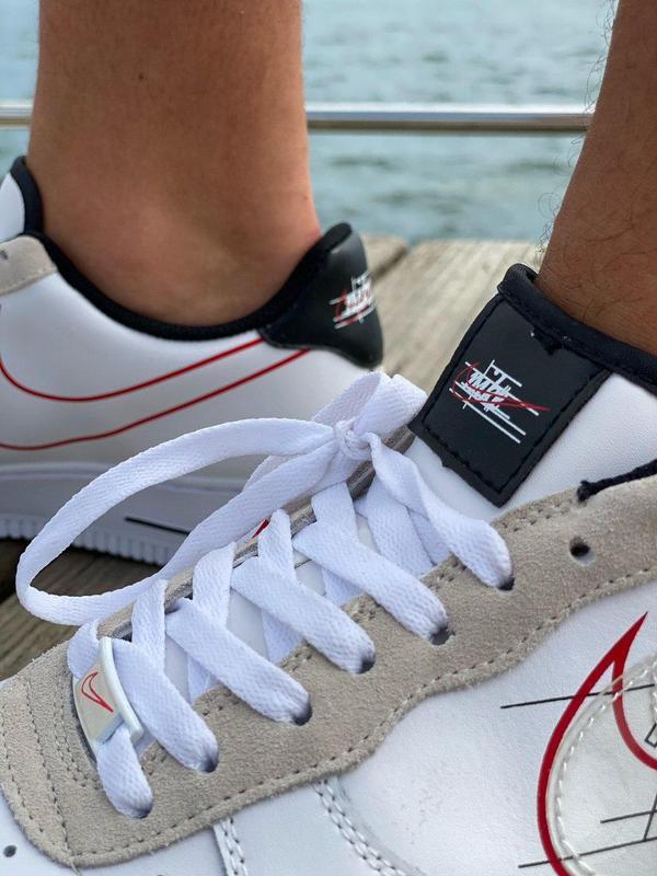 Кроссовки Nike Air Force Script Swoosh White - Фото 3