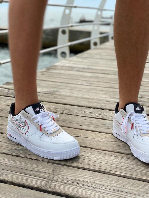 Кроссовки Nike Air Force Script Swoosh White - Фото 7