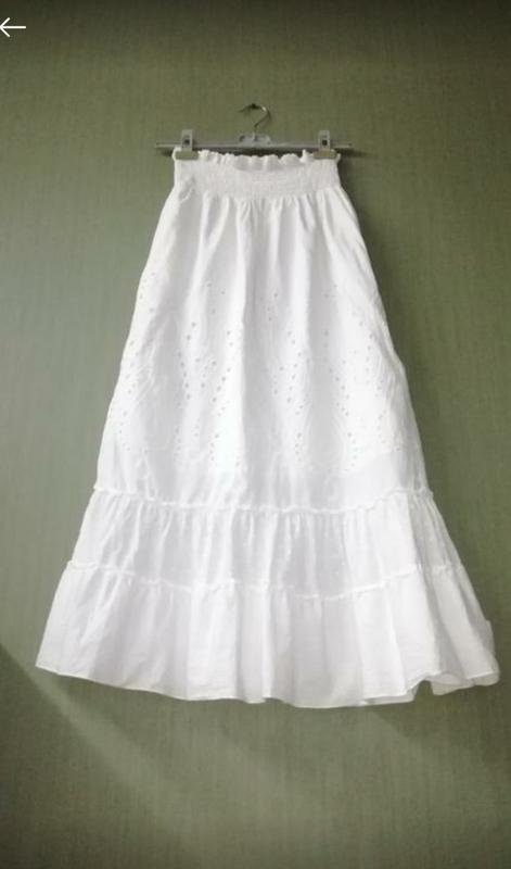 Белая юбка макси в пол прошва шитье