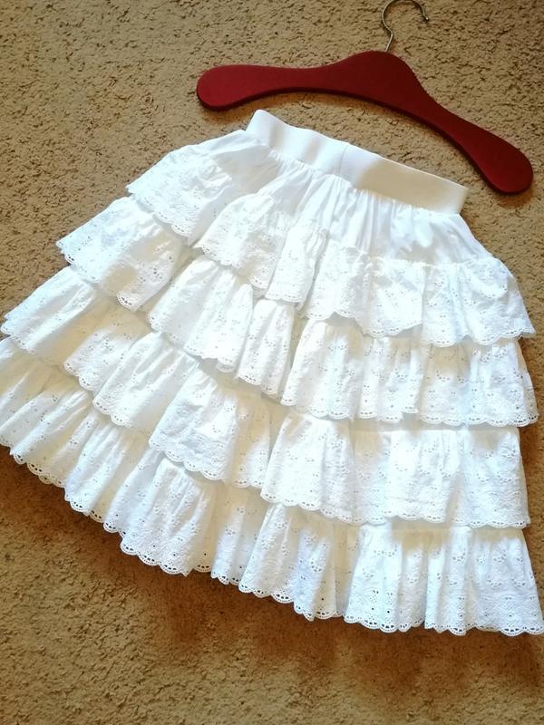 Ярусная юбка прошва шитье с воланами