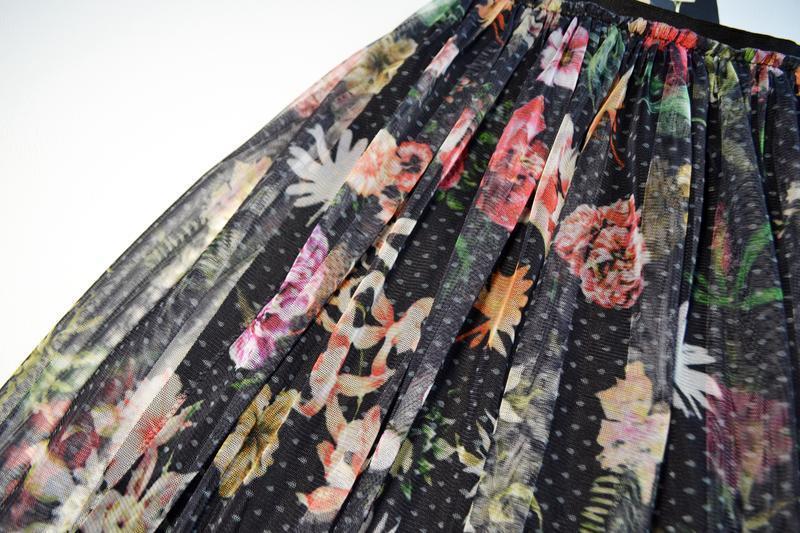 Красивая сетчатая пышная юбка миди в цветы - Фото 5
