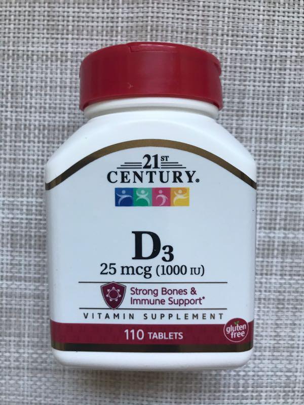21St Sentury , D3 , Д3 1000me , Витамин Д3 , 110 шт
