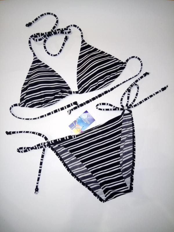 Пляжным купальник бикини в полосочку f&f uk 10 - Фото 2