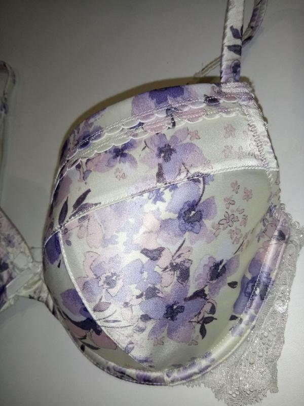 Атласный шелковый бюстгальтер в цветочный принт f&f 80b 36b 80... - Фото 2