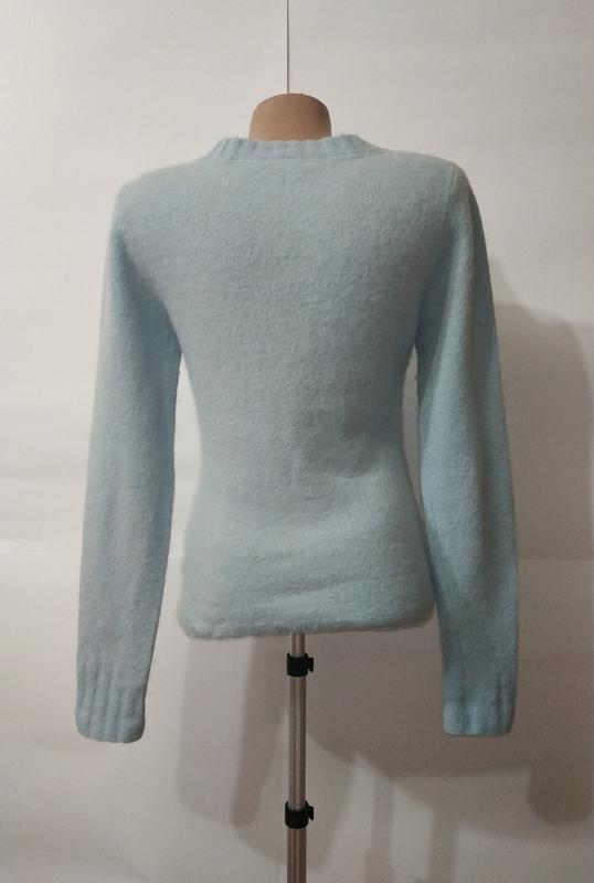 Голубой шерстяной свитер пуловер fat face uk 10 / 38 / s - Фото 3