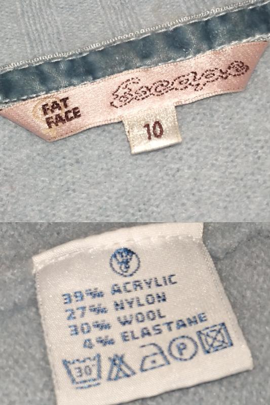 Голубой шерстяной свитер пуловер fat face uk 10 / 38 / s - Фото 4