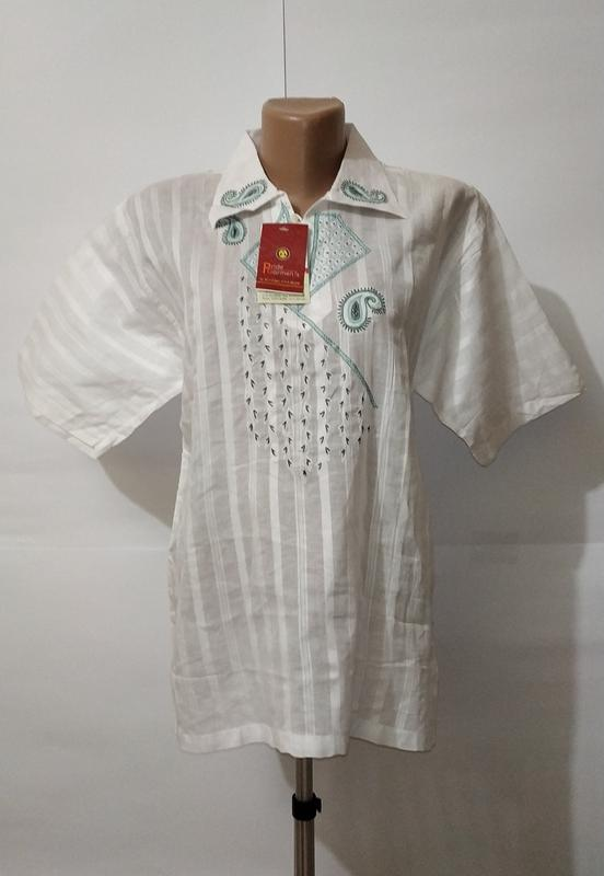 Белая новая хлопковая рубашка с вышивкой uk 16 / 44 / xl