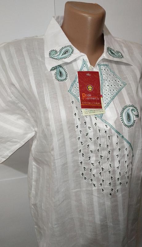 Белая новая хлопковая рубашка с вышивкой uk 16 / 44 / xl - Фото 2