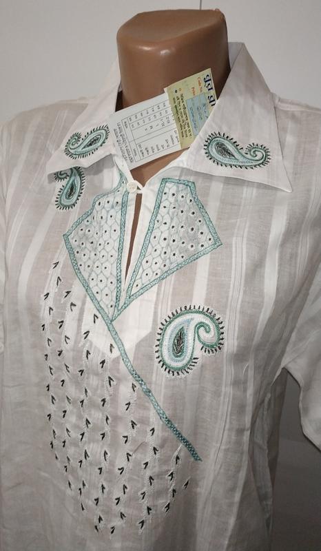 Белая новая хлопковая рубашка с вышивкой uk 16 / 44 / xl - Фото 3